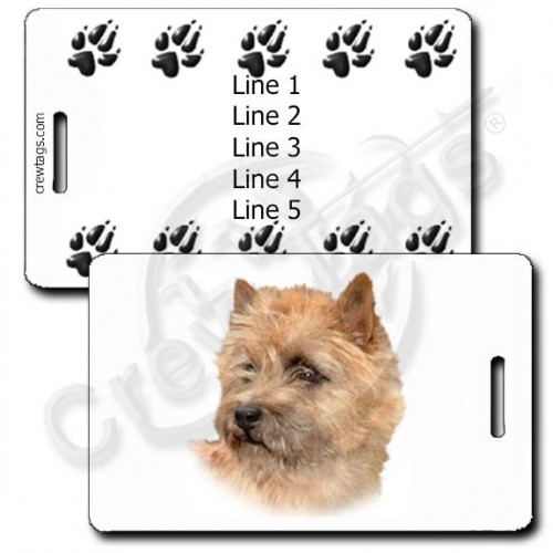 PERSONALIZED CAIRN TERRIER LUGGAGE TAGS WITH PAW PRINT BACK