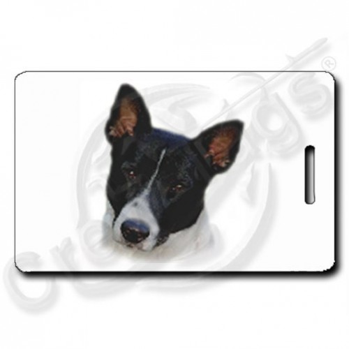 CANAAN DOG PERSONALIZED LUGGAGE TAGS WITH PAW PRINT BACK - BLACK & WHITE