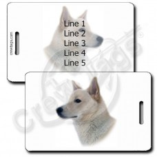CANAAN DOG PERSONALIZED LUGGAGE TAGS - WHITE
