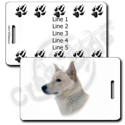 PERSONALIZED CANAAN DOG LUGGAGE TAGS - WHITE WITH PAW PRINT BACK