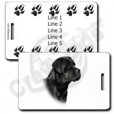 PERSONALIZED CANE CORSO LUGGAGE TAGS WITH PAW PRINT BACK