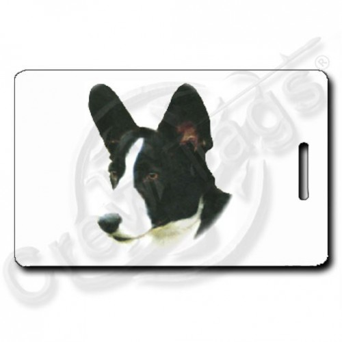 CARDIGAN WELSH CORGI PERSONALIZED LUGGAGE TAGS - BLACK/WHITE