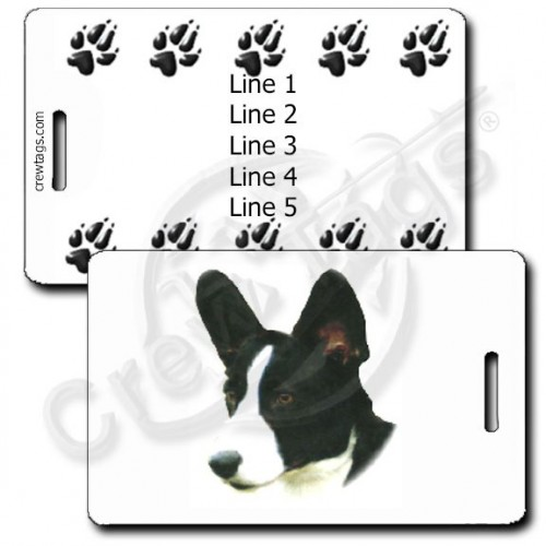 PERSONALIZED CARDIGAN WELSH CORGI LUGGAGE TAGS - BLACK/WHITE WITH PAW PRINT BACK