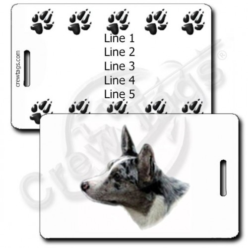 PERSONALIZED CARDIGAN WELSH CORGI LUGGAGE TAGS - MERLE WITH PAW PRINT BACK