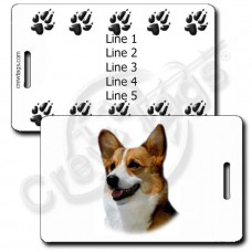 PERSONALIZED CARDIGAN WELSH CORGI LUGGAGE TAGS - WITH PAW PRINT BACK