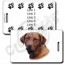 PERSONALIZED CHESAPEAKE BAY RETRIEVER LUGGAGE TAGS WITH PAW PRINT BACK