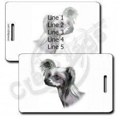 PERSNALIZED CHINESE CRESTED DOG LUGGAGE TAGS