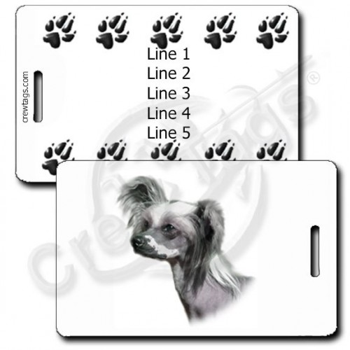 PERSONALIZED CHINESE CRESTED DOG LUGGAGE TAGS WITH PAW PRINT BACK