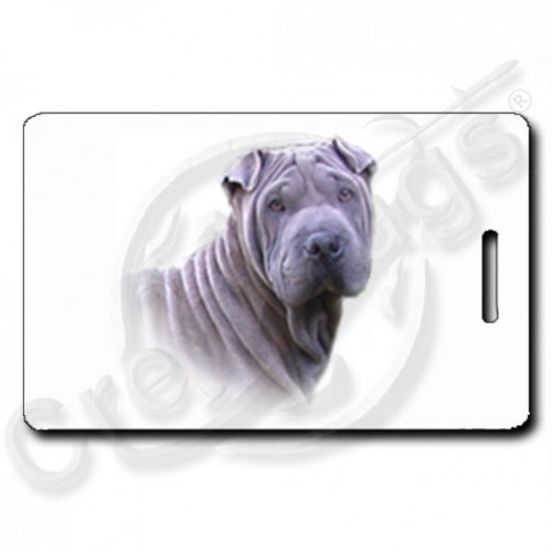CHINESE SHAR PEI LUGGAGE TAGS - SILVER WITH PAW PRINT BACK