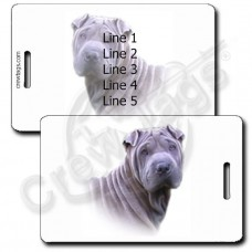 PERSONALIZED CHINESE SHAR PEI LUGGAGE TAGS - SILVER