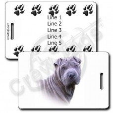 PERSONALIZED CHINESE SHAR PEI LUGGAGE TAGS - SILVER WITH PAW PRINT BACK