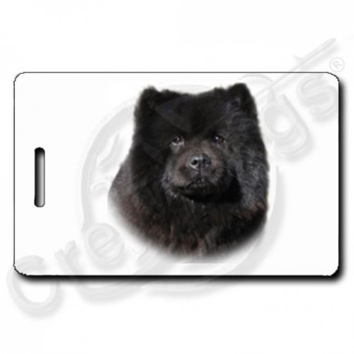 CHOW CHOW LUGGAGE TAGS - BLACK WITH PAW PRINT BACK