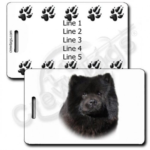 PERSONALIZED CHOW CHOW LUGGAGE TAGS - BLACK WITH PAW PRINT BACK