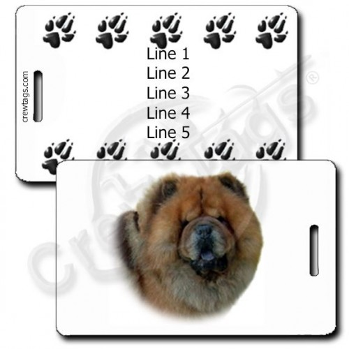 PERSONALIZED CHOW CHOW LUGGAGE TAGS WITH PAW PRINT BACK