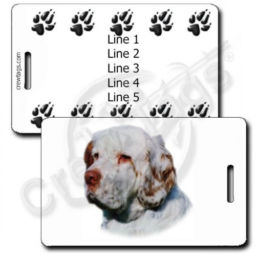 PERSONALIZED CLUMBER SPANIEL LUGGAGE TAGS WITH PAW PRINT BACK