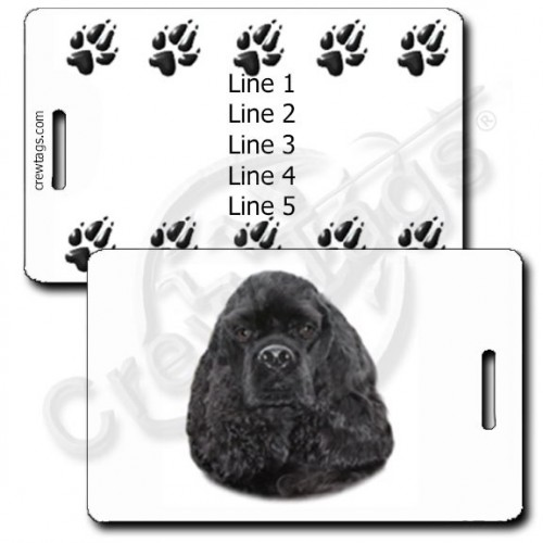 PERSONALIZED COCKER SPANIEL LUGGAGE TAGS - BLACK WITH PAW PRINT BACK