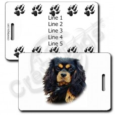 PERSONALIZED COCKER SPANIEL LUGGAGE TAGS - BLACK AND TAN WITH PAW PRINT BACK