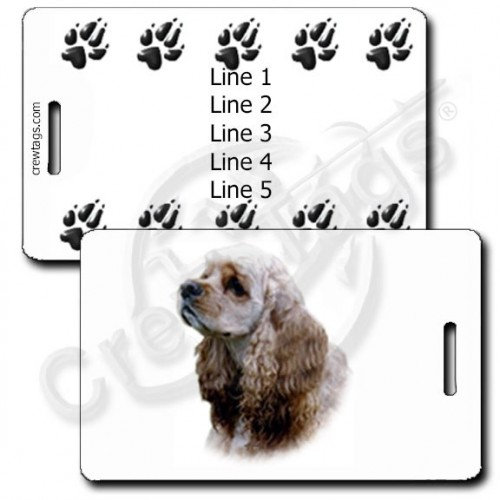 PERSONALIZED COCKER SPANIEL LUGGAGE TAGS WITH PAW PRINT BACK