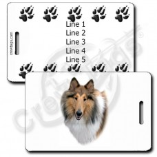 PERSONALIZED COLLIE LUGGAGE TAGS WITH PAW PRINT BACK