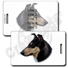 PERSONALIZED COLLIE- SMOOTH COAT BLACK AND TAN LUGGAGE TAGS