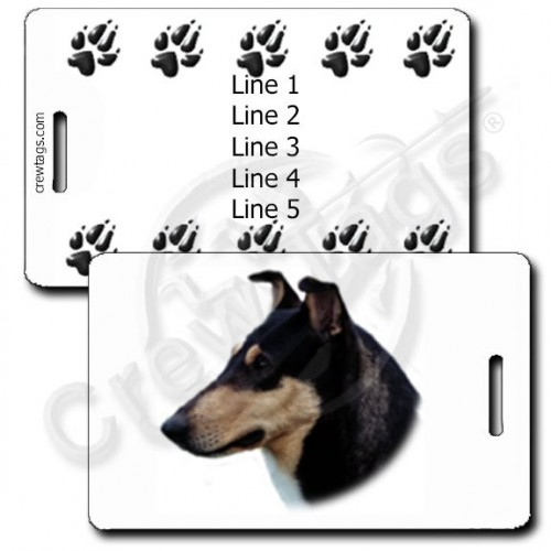 PERSONALIZED COLLIE- SMOOTH COAT BLACK AND TAN LUGGAGE TAGS WITH PAW PRINT BACK