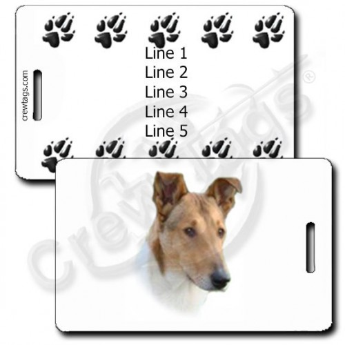 PERSONALIZED COLLIE - SMOOTH LUGGAGE TAGS WITH PAW PRINT BACK