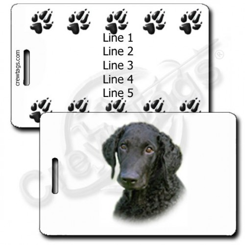 PERSONALIZED CURLY COATED RETRIEVER LUGGAGE TAGS WITH PAW PRINT BACK
