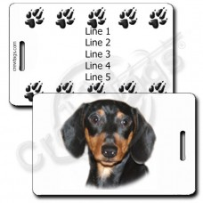PERSONALIZED DACHSHUND - BLACK AND TAN LUGGAGE TAGS WITH PAW PRINT BACK
