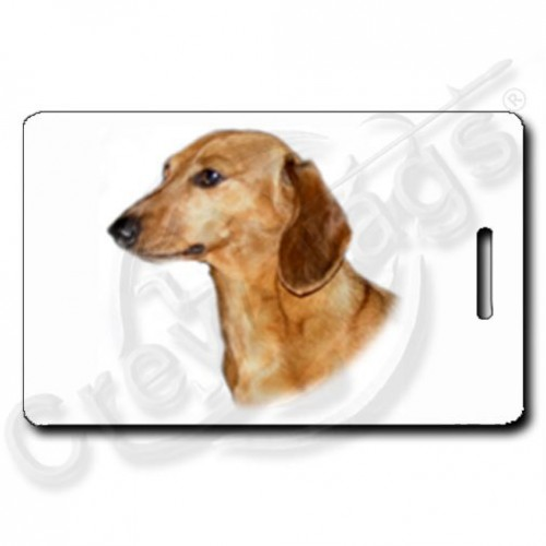 DACHSHUND LUGGAGE TAGS WITH PAW PRINT BACK