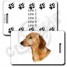 PERSONALIZED DACHSHUND LUGGAGE TAGS WITH PAW PRINT BACK