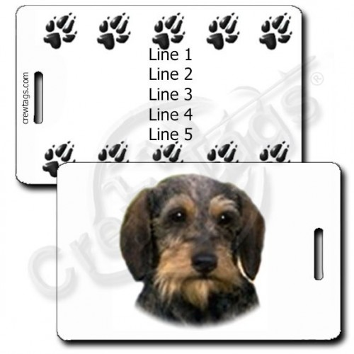 PERSONALIZED DACHSHUND - WIRE HAIR LUGGAGE TAGS WITH PAW PRINT BACK