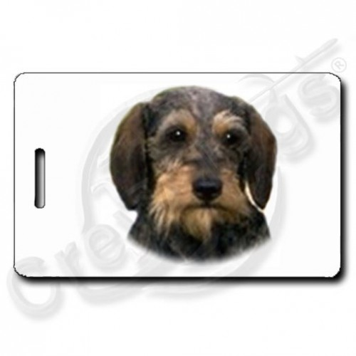 DACHSHUND - WIRE HAIR LUGGAGE TAGS WITH PAW PRINT BACK