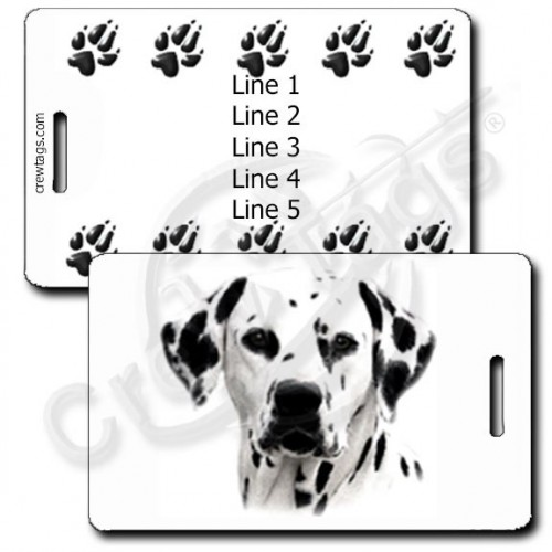 PERSONALIZED DALMATIAN LUGGAGE TAGS WITH PAW PRINT BACK
