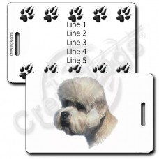 PERSONALIZED DANDIE DINMONT TERRIER LUGGAGE TAGS WITH PAW PRINT BACK