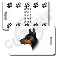 DOBERMAN PINSCHER PERSONALIZED LUGGAGE TAGS WITH PAW PRINT BACK