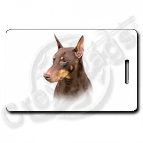 DOBERMAN PINSCHER LUGGAGE TAGS - RED