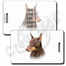 PERSONALIZED DOBERMAN PINSCHER LUGGAGE TAGS - RED