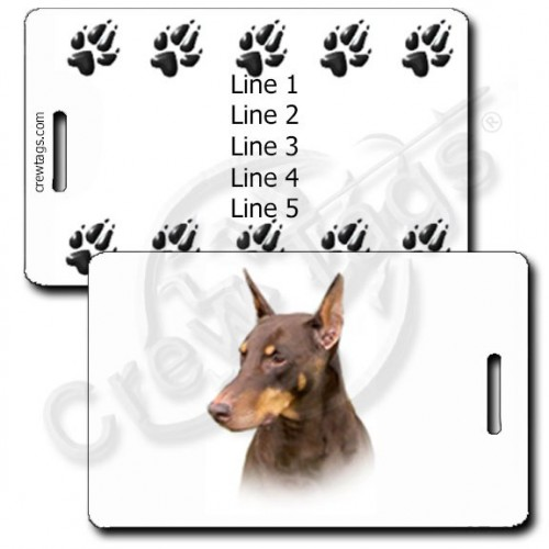 PERSONALIZED DOBERMAN PINSCHER LUGGAGE TAGS - RED WITH PAW PRINT BACK