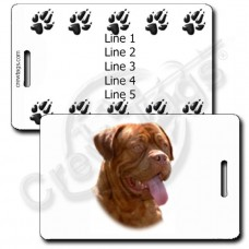 PERSONALIZED DOGUE DE BORDEAUX LUGGAGE TAGS WITH PAW PRINT BACK