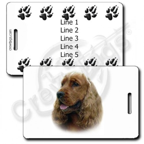 PERSONALIZED ENGLISH COCKER SPANIEL LUGGAGE TAGS WITH PAW PRINT BACK