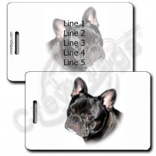 PERSONALIZED FRENCH BULLDOG LUGGAGE TAGS - BLACK
