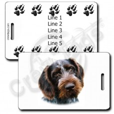 GERMAN WIREHAIRED POINTER LUGGAGE TAGS WITH PAW PRINT BACK