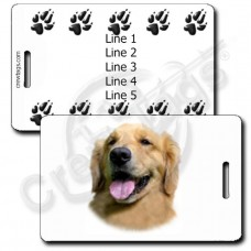 GOLDEN RETRIEVER LUGGAGE TAGS WITH PAW PRINT BACK