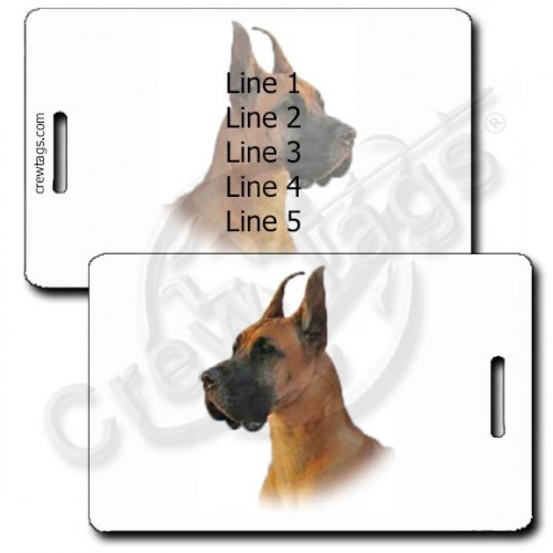 PERSONALIZED GREAT DANE LUGGAGE TAGS