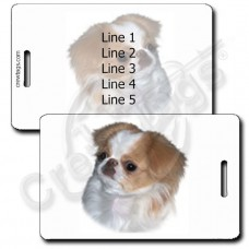 JAPANESE CHIN LUGGAGE TAGS - RED & WHITE