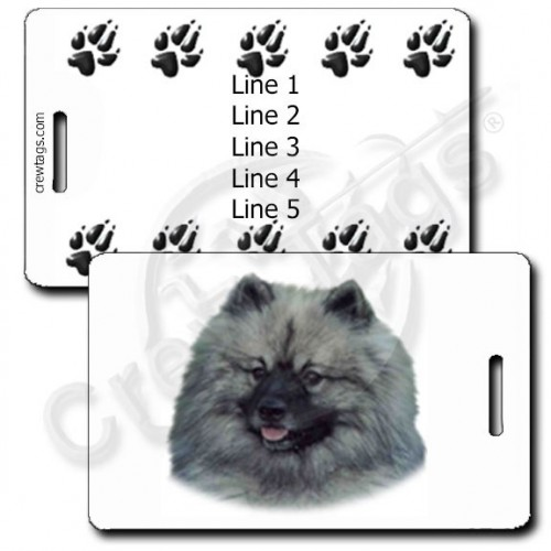 KEESHOND PERSONALIZED LUGGAGE TAGS WITH PAW PRINT BACK