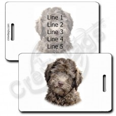 PERSONALIZED LABRADOODLE LUGGAGE TAGS - CHOCOLATE