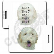 PERSONALIZED LABRADOODLE LUGGAGE TAGS - YELLOW