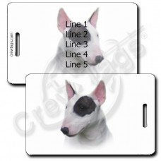 PERSONALIZED MINIATURE BULL TERRIER LUGGAGE TAGS - BLACK AND WHITE