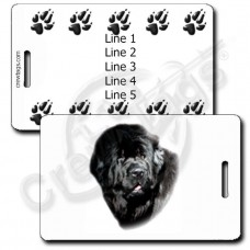 PERSONALIZE NEWFOUNDLAND LUGGAGE TAGS WITH PAW PRINTS